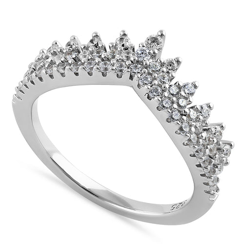Sterling Silver Vintage Crown Round Cut Clear CZ Engagement Ring