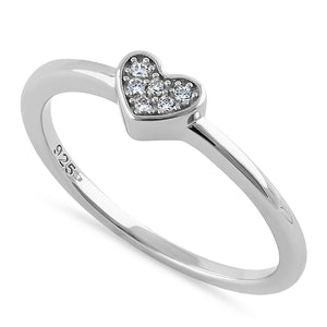 Sterling Silver Elegant Heart Cluster Clear CZ Ring
