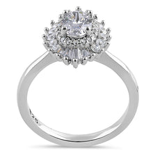 Load image into Gallery viewer, Sterling Silver Vintage Oval Halo Clear CZ Engagement Ring