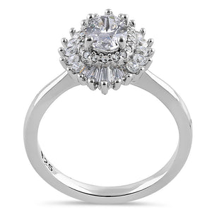 Sterling Silver Vintage Oval Halo Clear CZ Engagement Ring