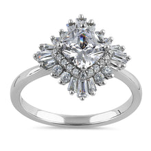 Load image into Gallery viewer, Sterling Silver Extravagant Cushion Halo Clear CZ Engagement Ring