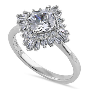Sterling Silver Extravagant Cushion Halo Clear CZ Engagement Ring