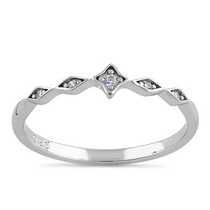 Sterling Silver Dainty Star Marquise Clear CZ Ring