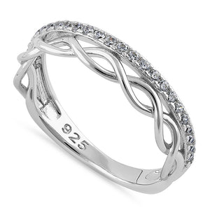 Sterling Silver Stackable Half Eternity Twist and Round Cut Clear CZ Ring