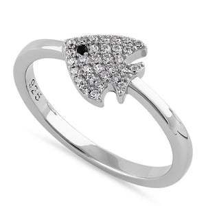 Sterling Silver Round Cut Clear CZ Fish Ring