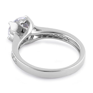 Sterling Silver Heart Setting Round Cut Clear CZ Engagement Ring