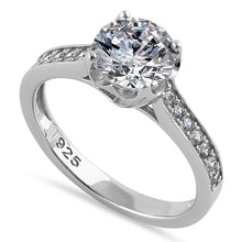 Load image into Gallery viewer, Sterling Silver Heart Setting Round Cut Clear CZ Engagement Ring