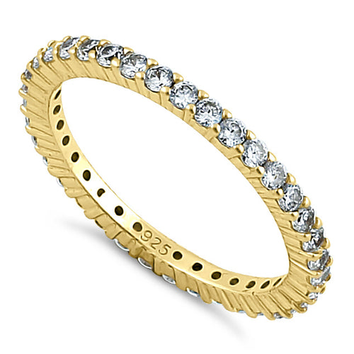Gold Plated Sterling Silver Eternity CZ Ring
