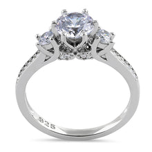Load image into Gallery viewer, Sterling Silver Vintage Trio Round Cut Clear CZ Engagement Ring