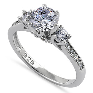 Sterling Silver Vintage Trio Round Cut Clear CZ Engagement Ring