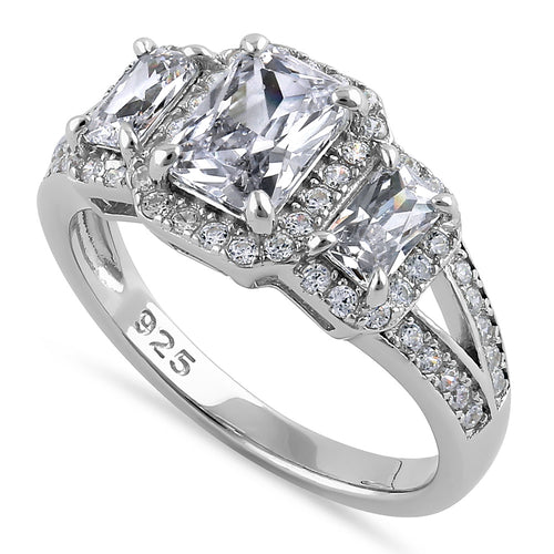 Sterling Silver Triple Rectangular Halo Clear CZ Engagement Ring