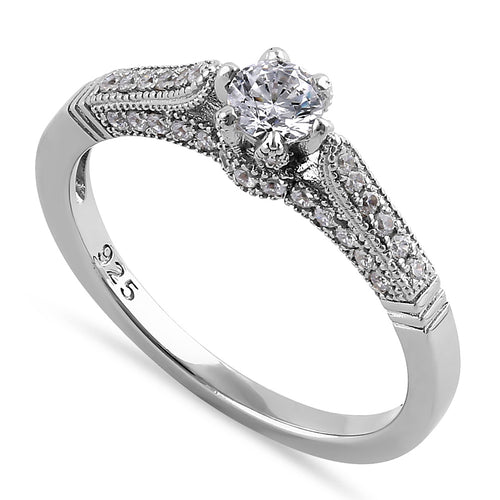 Sterling Silver Dainty Cathedral Round Cut Clear CZ Engagement Ring