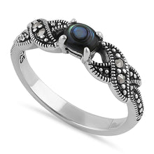 Load image into Gallery viewer, Sterling Silver Oval Abalone Marcasite Ring