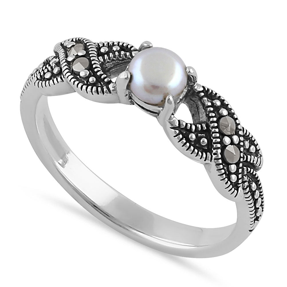 Sterling Silver Oval Fresh Water Pearl Marcasite Ring