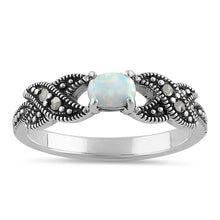 Load image into Gallery viewer, Sterling Silver Oval Opal Marcasite Ring