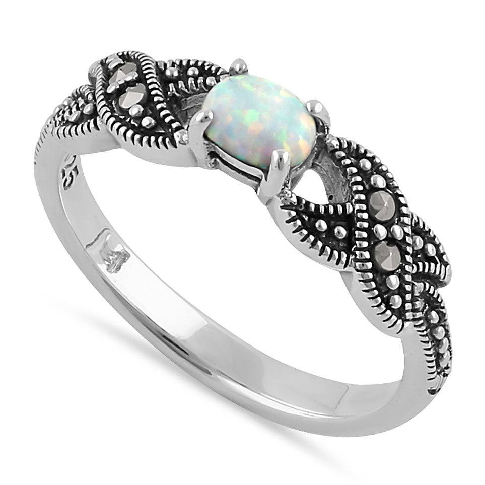 Sterling Silver Oval Opal Marcasite Ring