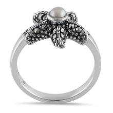 Load image into Gallery viewer, Sterling Silver Fresh Water Pearl Marcasite Starfish Ring