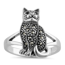 Load image into Gallery viewer, Sterling Silver Clever Cat Round Cut Garnet CZ Marcasite Ring