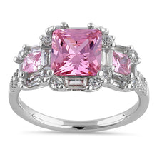 Load image into Gallery viewer, Sterling Silver Classic Princess, Emerald & Round Cut with Pink & Clear CZ Ring