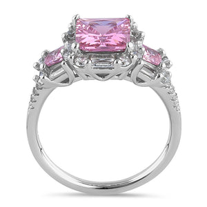 Sterling Silver Classic Princess, Emerald & Round Cut with Pink & Clear CZ Ring