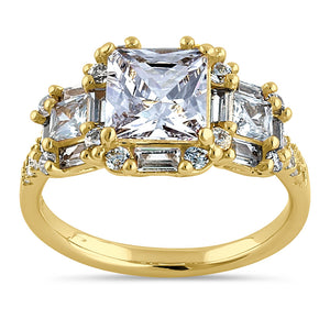 Sterling Silver Yellow Gold Plated Classic Princess, Emerald & Round Cut Clear CZ Ring