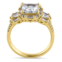 Load image into Gallery viewer, Sterling Silver Yellow Gold Plated Classic Princess, Emerald & Round Cut Clear CZ Ring