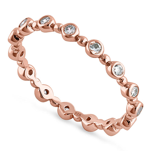 Sterling Silver Rose Gold Plated Round Cut Clear CZ Eternity Ring
