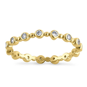 Sterling Silver Yellow Gold Plated Round Cut Clear CZ Eternity Ring