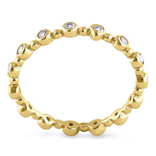 Load image into Gallery viewer, Sterling Silver Yellow Gold Plated Round Cut Clear CZ Eternity Ring