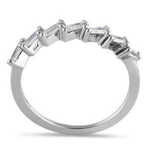 Sterling Silver Half Eternity Tapered Baguette Cut Clear CZ Ring