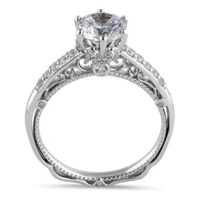 Load image into Gallery viewer, Sterling Silver Victorian Cathedral 7.0mm Round Cut Clear CZ Filigree Engagement Ring