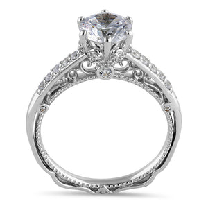 Sterling Silver Victorian Cathedral 7.0mm Round Cut Clear CZ Filigree Engagement Ring