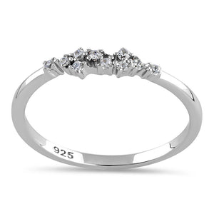 Sterling Silver Unique Dainty Cluster Round Clear Cut CZ Ring
