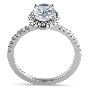 Sterling Silver Chic Oval Halo Round Cut Clear CZ Engagement Ring