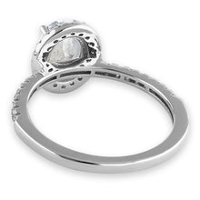 Load image into Gallery viewer, Sterling Silver Chic Oval Halo Round Cut Clear CZ Engagement Ring