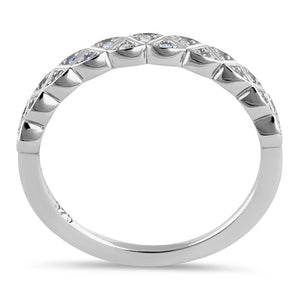 Sterling Silver Triangular Half Eternity Pattern Round Cut Clear CZ Band Ring