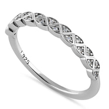 Load image into Gallery viewer, Sterling Silver Triangular Half Eternity Pattern Round Cut Clear CZ Band Ring
