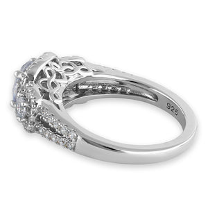 Sterling Silver Luxurious Filigree Halo Trio Round Cut Clear CZ Engagement Ring