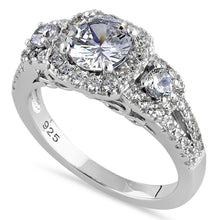 Load image into Gallery viewer, Sterling Silver Luxurious Filigree Halo Trio Round Cut Clear CZ Engagement Ring