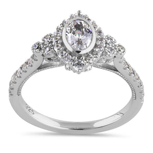 Sterling Silver Victorian Oval Marquise Halo Round Cut Clear CZ Engagement Ring