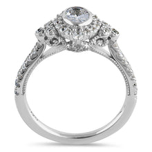 Load image into Gallery viewer, Sterling Silver Victorian Oval Marquise Halo Round Cut Clear CZ Engagement Ring
