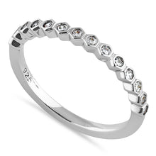 Load image into Gallery viewer, Sterling Silver Half Eternity Hexagon Round Cut Clear CZ Band Ring