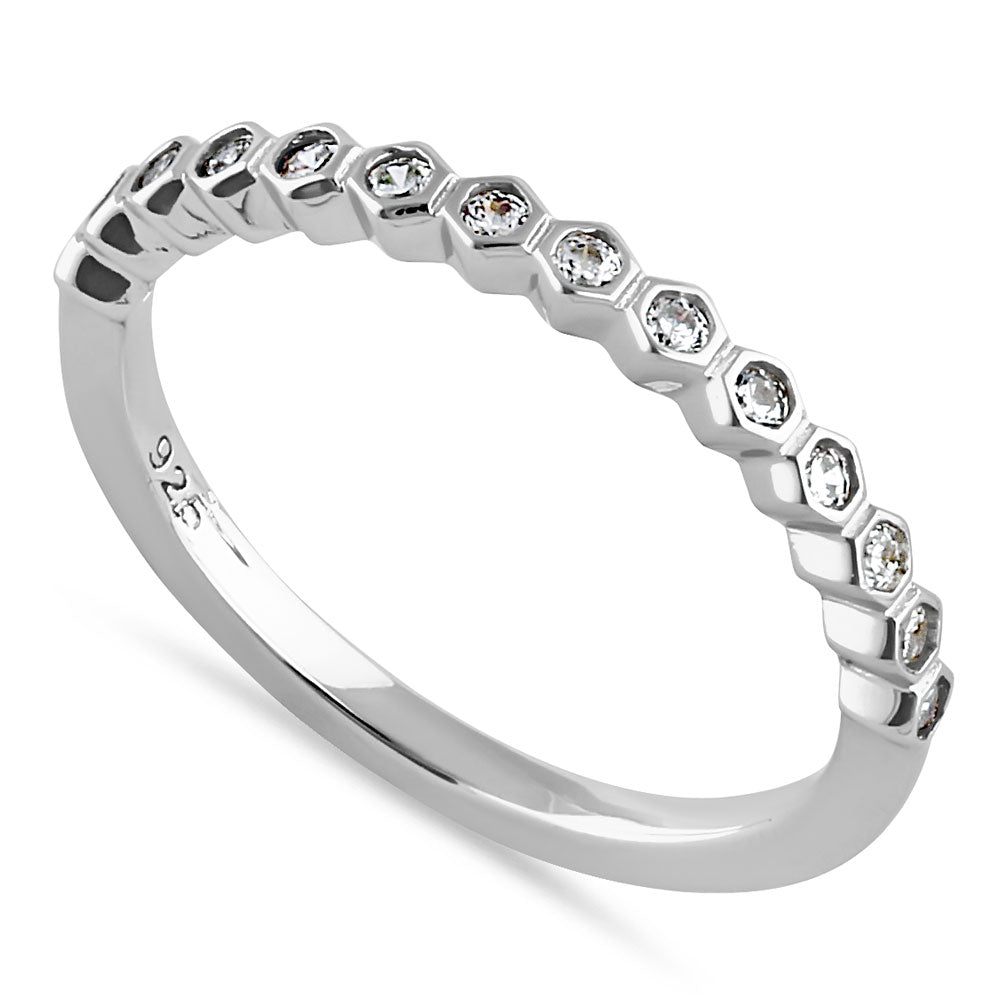 Sterling Silver Half Eternity Hexagon Round Cut Clear CZ Band Ring