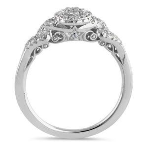 Sterling Silver Petite Flower Cluster Halo Round Cut Clear CZ Linked Engagement Ring