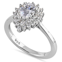 Load image into Gallery viewer, Sterling Silver Elegant Pear Halo Round Cut Clear CZ Engagement Ring