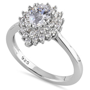Sterling Silver Elegant Pear Halo Round Cut Clear CZ Engagement Ring