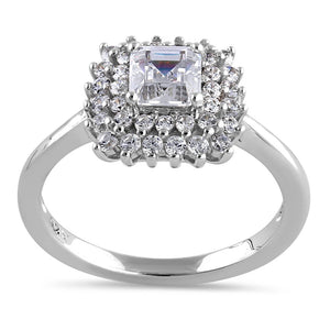 Sterling Silver Halo Cluster Square and Round Cute Clear CZ Engagement Ring
