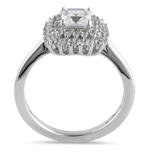 Load image into Gallery viewer, Sterling Silver Halo Cluster Square and Round Cute Clear CZ Engagement Ring