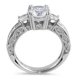 Sterling Silver 8.0mm Round Cut Clear CZ Modern Marquise Engagement Ring