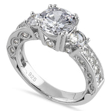 Load image into Gallery viewer, Sterling Silver 8.0mm Round Cut Clear CZ Modern Marquise Engagement Ring